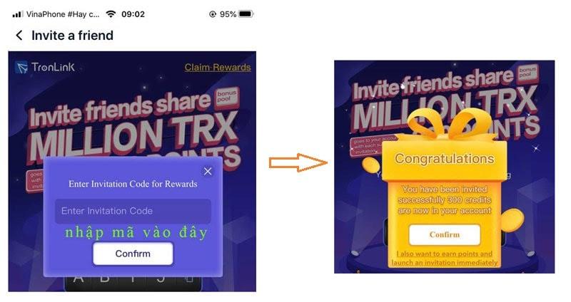 nhập mã và nhận thưởng airdrop tronlink